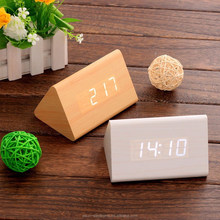 Modern creative triangle LED Sound sensor decorative wooden desk table digital alarm clock/Wooden alarm clock