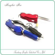 Multi-function led ball pen with knife keychain