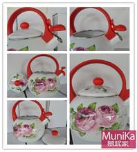 Kitchen cookware enamel water Kettle/ ceramic whistle sound teapot/ decorated white enamel teapot