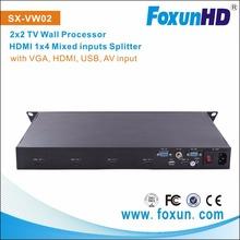 SHUNXUN SX-VW02 support VGA ,HDMI USB AV input 2x2 HDM video wall processor