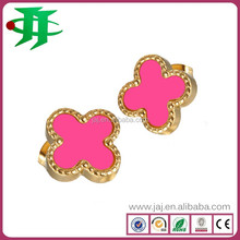 France brand fashion stainless steel four-leaf clover earrings