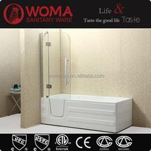 Q375 new design square acrylic corner walk in tub shower combo