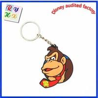 Best promotion gift 3D animal design rubber monkey keychain