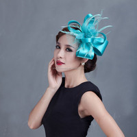Ladies silk and feather fascinator wholesale for wedding and party