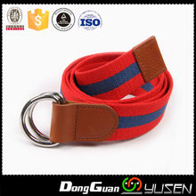 Promotional Hot Style Two Tone Stripe Woven Ladies Canvas Belt with D ring