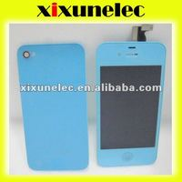 For iphone4 LCD+touch screen+button+back cover light blue
