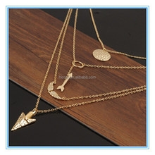 Fashion design jewelry several layers long necklace with arrow/wings/round pendants for girls