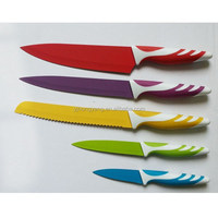 5pcs Color coating kitchen Knife Set With TPR handle