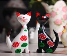 2014 high quality wood craft decorative zakka crafts tall cat sculpture