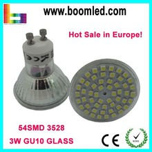 Shenzhen Factory Wholesale 3W LED GU10 Spot Light Glass 54pcs SMD3528