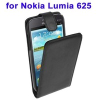 Black Vertical Flip Leather smart case for nokia lumia 625 with fashion design