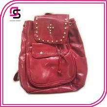 2014 fashion girls gold stud drawstring closure decoration PU red backpack