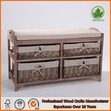 Rustic Wooden Bench China Upholstered Bench with Wicker Baskets Drawers