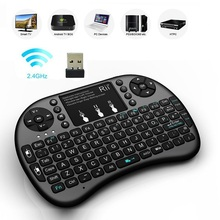 New Hot Black 2.4G RF Rii mini i8+ Wireless Keyboard Touch Pad mouse gaming Keybord for HTPC Tablet Laptop PC Teclado