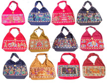 Ladies Fashion Cotton Canvas Designers Sequins Beaded Embroidered Hand painted Evening Party Shoulder Handbags Purses