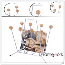 Magazine rack ,metal wire with wood decoration ball