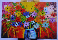 100% handmade cheap stock oil painting modern abstract spring colorful flowers in vase 60x90cm