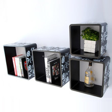 4 Sets Round Corner with printing Cube Wood Storage Wall Shelf