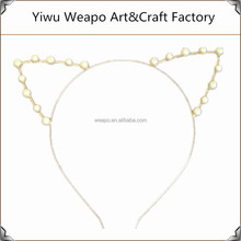 Promotion Gold or Silver Party Cat Ears Pearl Headband For Sale