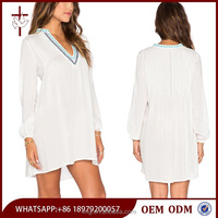 White long sleeve embroidery blouse back neck embroidery design
