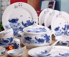 chinese blue ceramic porcelain tableware set,ceramic plate,ceramic mug cup