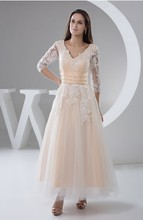S151 V-Neck Chiffon A-Line Appliqued Ankle Length Evening Dresses with Sleeves