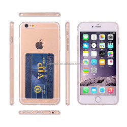 Ultra Thin Soft Silicon TPU Clear Phone Case with Card Slots For iPhone6 5.5""
