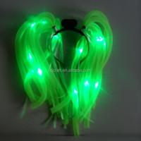 Halloween LED flashing noodle wig / LED braid headband SJNH-005