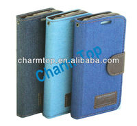 Jeans Grain Leather Wallet Case for Samsung i9190 Galaxy S4 Mini
