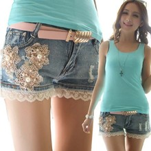 WA8045 Good quality lace flowers female Korean jeans shorts pants Korean summer shorts with belt