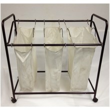 Hotel Laundry collecting trolley , laundry basket with 3 bags and hangers