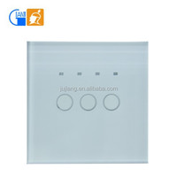 High quality waterproof crystal tempered glass panel 3gang 1way timer touch switch JJ-TSA-03