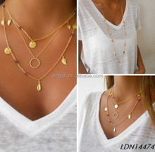 Double layers or Triple layers Metal Long chain Leaf charm statement necklace