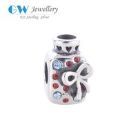 Perfume Bottle Charm With Bow Silver 925 European Beads Crystal Jewelry