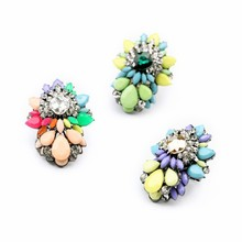 Top Fashion Vintage Multicolor Big Flower Stone Resins Rhinstone Shourouk Ring Female Statement Jewelry