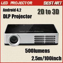 DLP-600W Amazing pocket 3D DLP LED Mini projector convert 2D to 3D, Android 4.2, for home entertainment video game