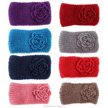 2015 fashion new design candy color Big ear warm Hairband Crochet Knit Headband red purple Flower Hair Accessories/
