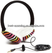 plush/fleece/knitted fashion earmuff headphone , cheap price, promotion