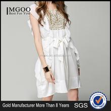 MGOO Cheap Price China OEM Services White Ruffles Dress Summer Princess Rivet Breast Ethic Bohemain Vestidos K072202