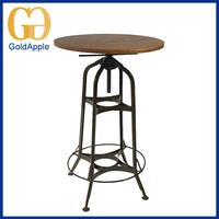 Industrial modern metal Restaurant table wood round outdoor dinner table
