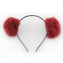 China Hair Accessory headband hair band Supperlier Wholesale Colorfulcute Rabbit Fur Ball Sharped Girls Winter Hairband
