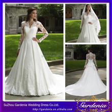 Modest White A-line V-neck Long Lace Sleeve Covered Back Floor Length 2012 Long Sleeve Wedding Dresses WD038