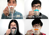 Funny different Colourful Moustache Coffee or Milk Glass cups Mugs