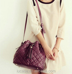 Hotsale drawstring metallic pu leather small shoulder bag for women