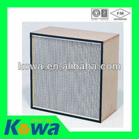 air filter chinese supplier Box Type filter with Fiberglass media Mini pleat H13 HEPA filter