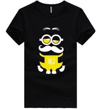 Hot Sale Popular Minions Printed Mens Black T Shirts