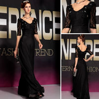 DORISQUEEN Hot sale Online Shopping New Gorgeous Sexy fashion black long sleeve open back evening dress 2015