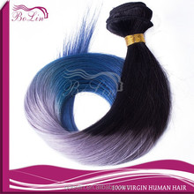 Alibaba hot selling top quality full cuticle malaysian virgin 3 tone color ombre hair color 1b/gray/blue