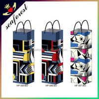 custom made fancy wine bottle paper gift bag,single wine bottle bags