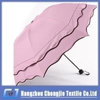 Hot Sale Super Lace Design UV Protection Sun and Rain Ladies's 3 fold Umbrella